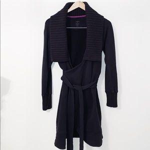 ZOBHA Black Wrap Coat W/Knit Collar & Cuffs